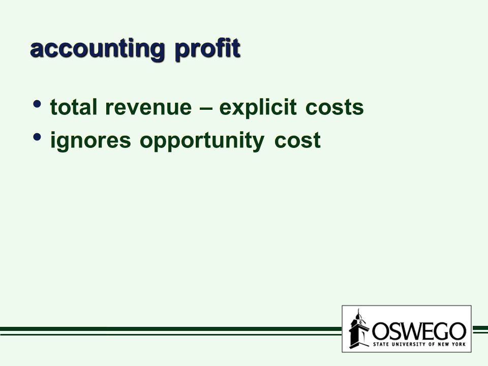 accounting profit total revenue – explicit costs