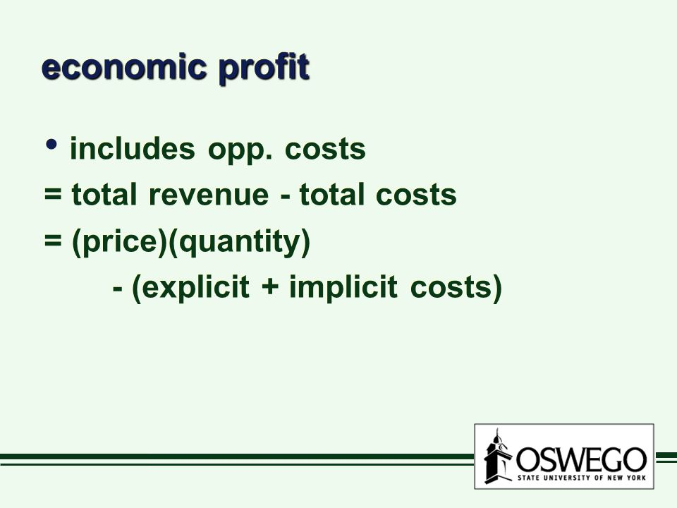 economic profit includes opp. costs = total revenue - total costs