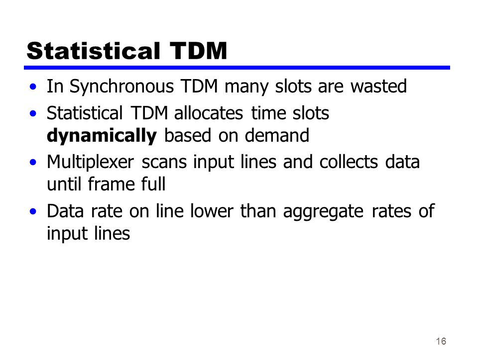 Statistical TDM In Synchronous TDM many slots are wasted