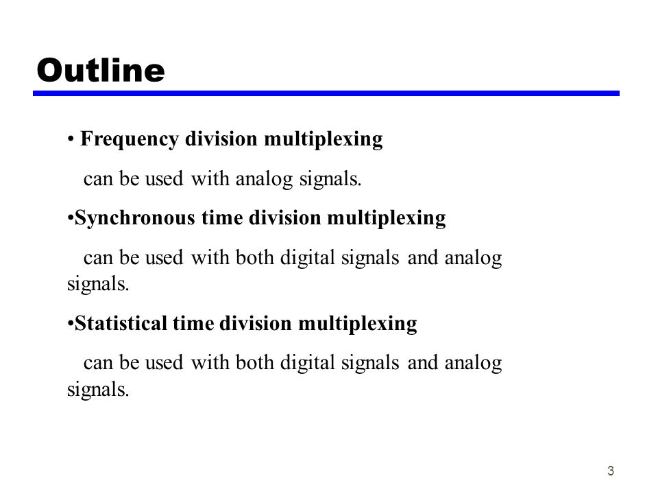 Outline Frequency division multiplexing