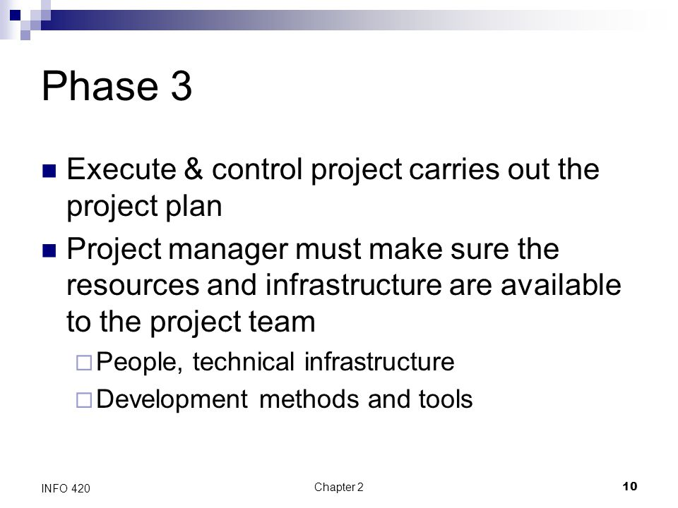 Phase 3 Execute & control project carries out the project plan