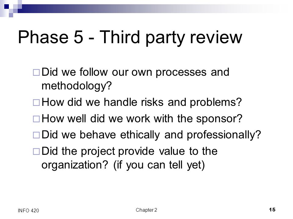 Phase 5 - Third party review