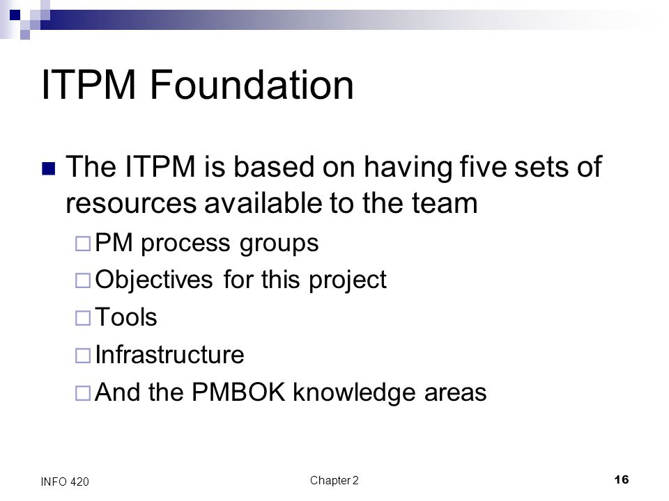 ITPM Foundation The ITPM is based on having five sets of resources available to the team. PM process groups.