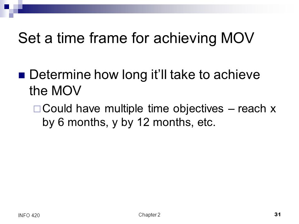 Set a time frame for achieving MOV