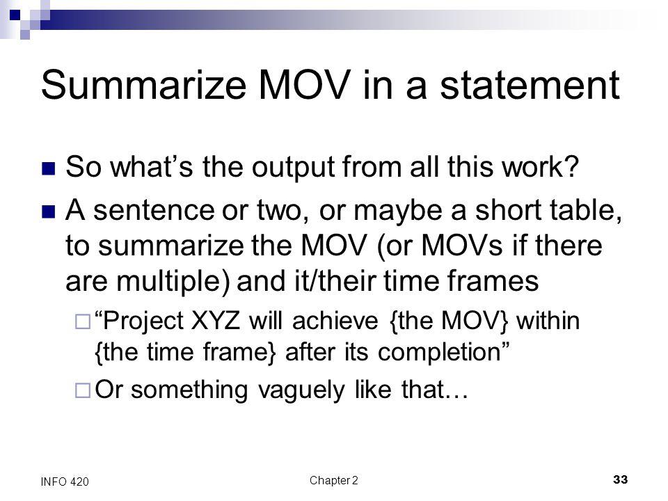 Summarize MOV in a statement