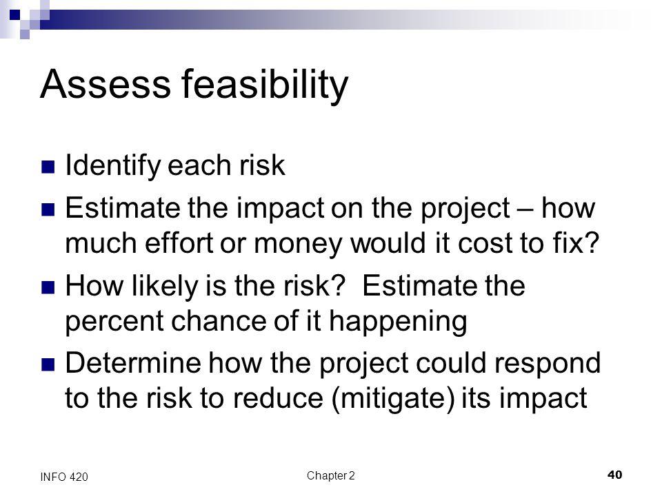 Assess feasibility Identify each risk