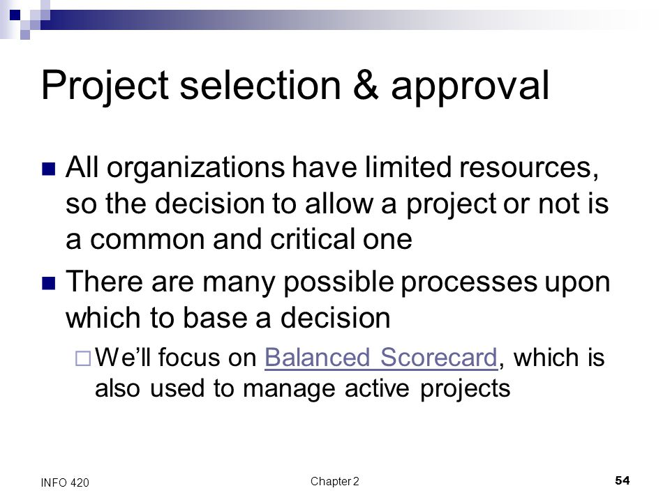 Project selection & approval