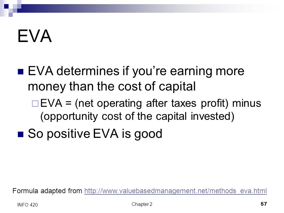 EVA EVA determines if you're earning more money than the cost of capital.