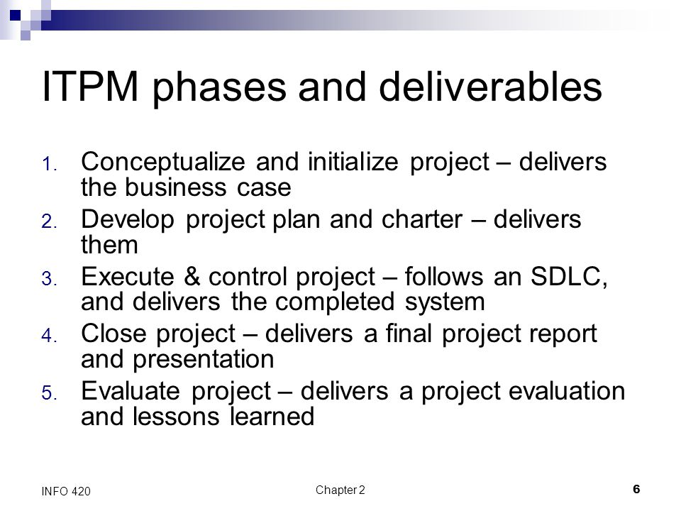 ITPM phases and deliverables