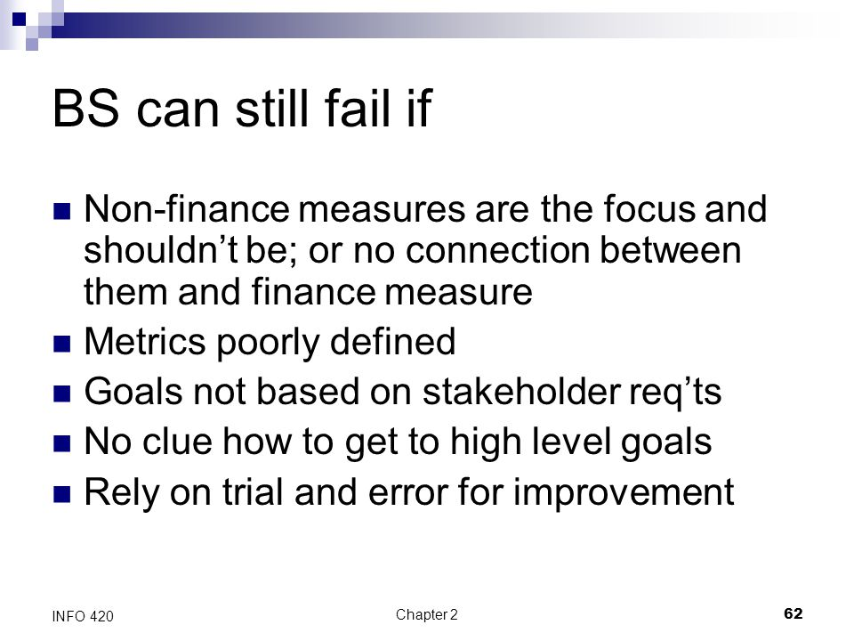 BS can still fail if Non-finance measures are the focus and shouldn't be; or no connection between them and finance measure.