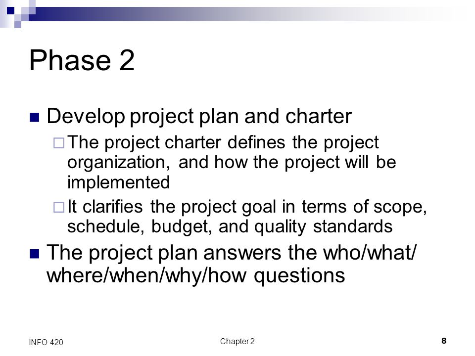 Phase 2 Develop project plan and charter