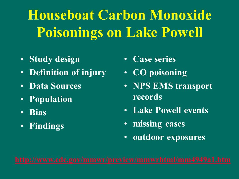 Houseboat Carbon Monoxide Poisonings on Lake Powell