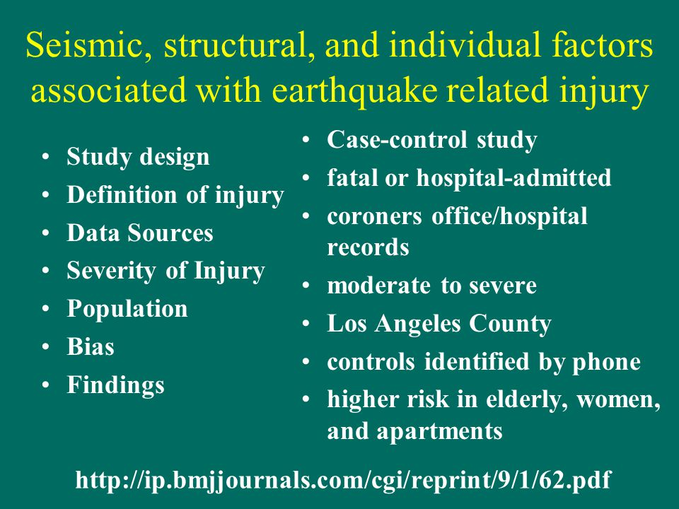 Seismic, structural, and individual factors associated with earthquake related injury