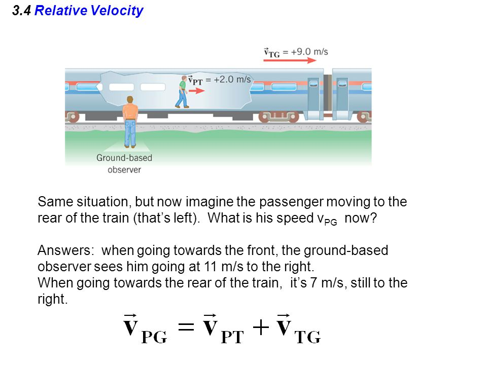 3.4 Relative Velocity Same situation, but now imagine the passenger moving to the rear of the train (that's left). What is his speed vPG now