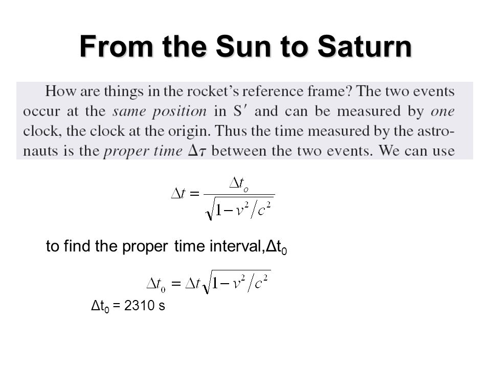 From the Sun to Saturn to find the proper time interval,Δt0