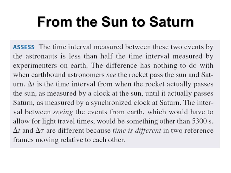 From the Sun to Saturn
