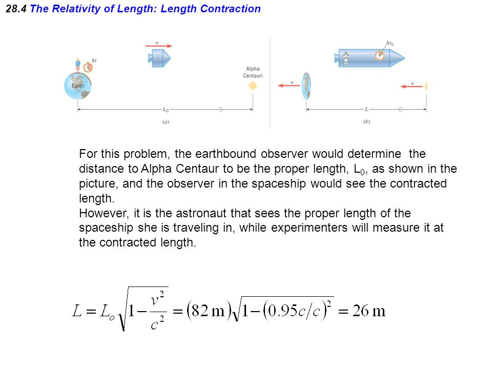 28.4 The Relativity of Length: Length Contraction