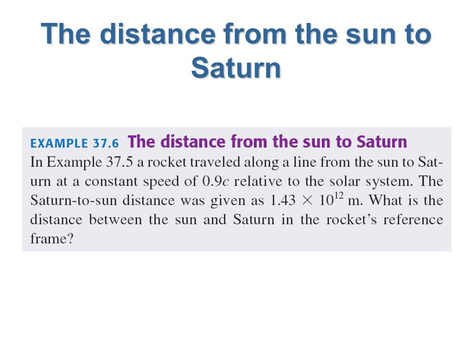 The distance from the sun to Saturn