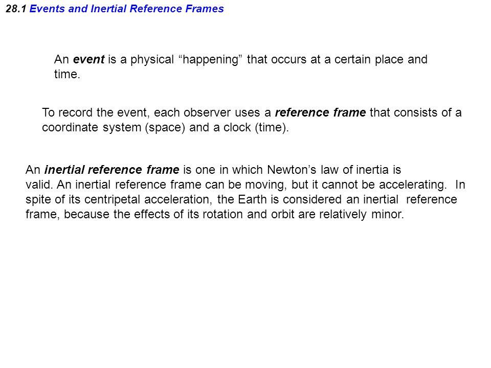 28.1 Events and Inertial Reference Frames