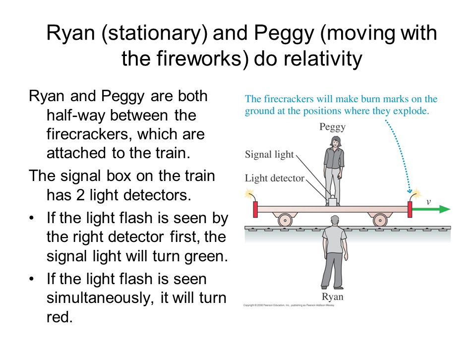 Ryan (stationary) and Peggy (moving with the fireworks) do relativity