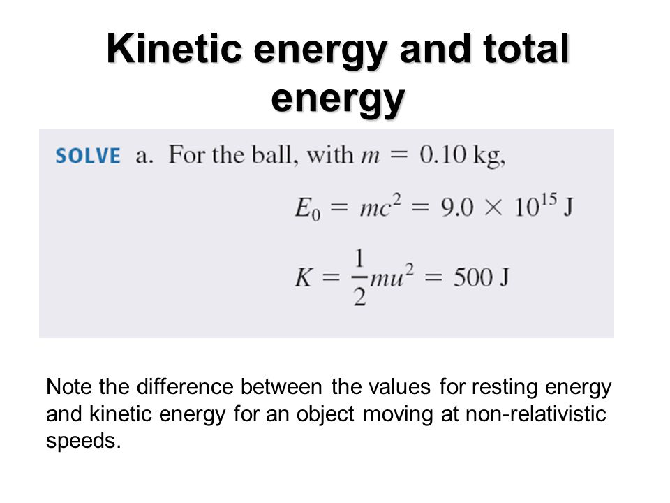 Kinetic energy and total energy