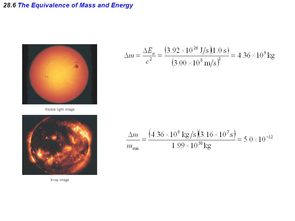 28.6 The Equivalence of Mass and Energy