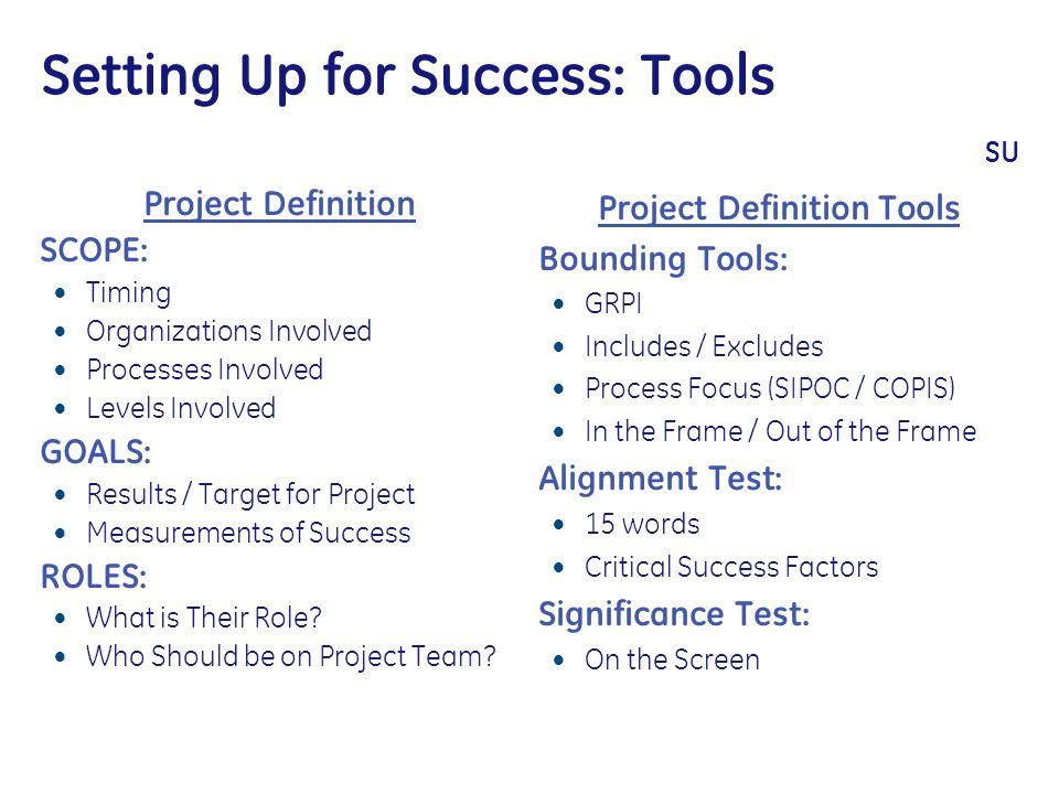 Setting Up for Success: Tools SU