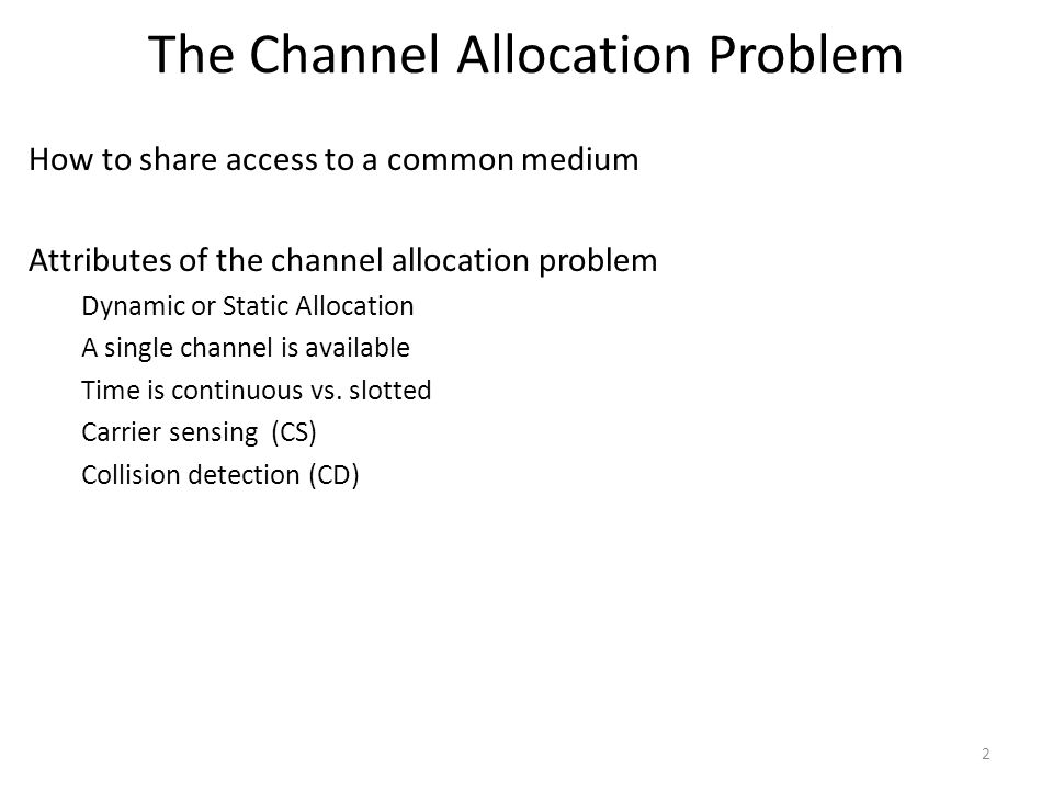 The Channel Allocation Problem
