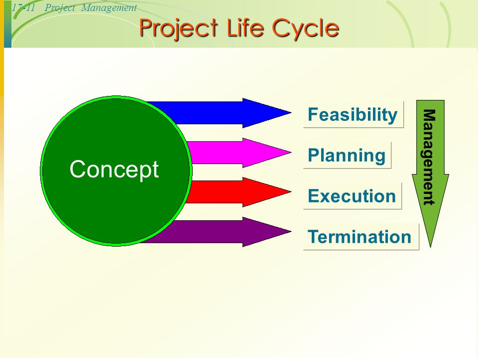 Project Life Cycle Concept Feasibility Planning Execution Termination