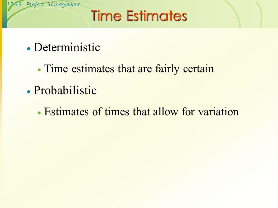 Time Estimates Deterministic Probabilistic