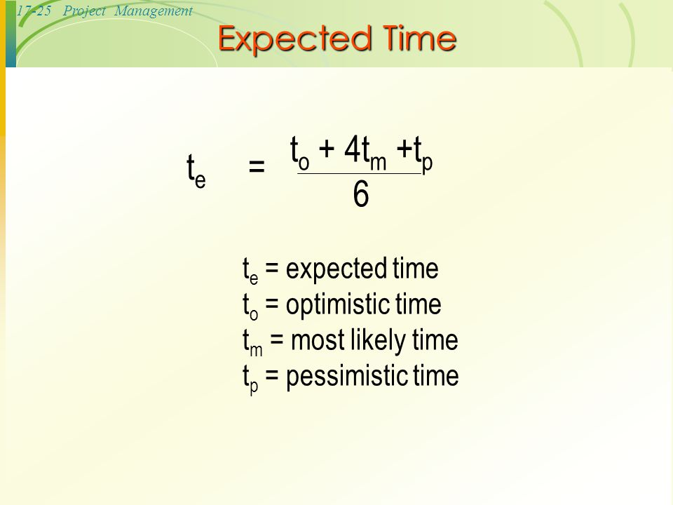 te = to + 4tm +tp 6 Expected Time te = expected time