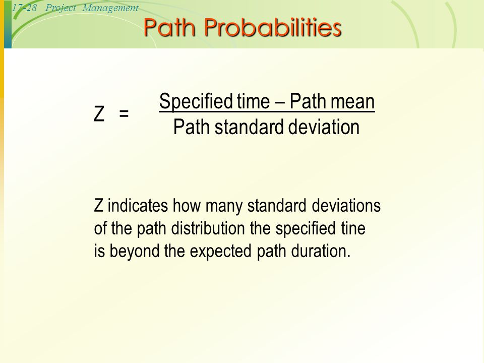 Path Probabilities Z = Specified time – Path mean