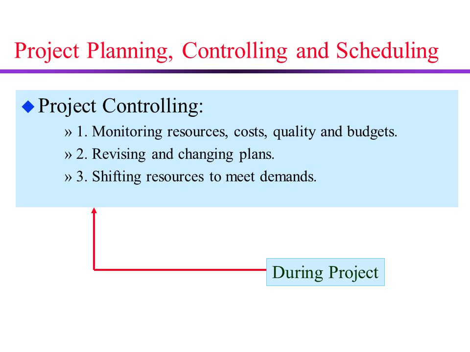 Project Planning, Controlling and Scheduling