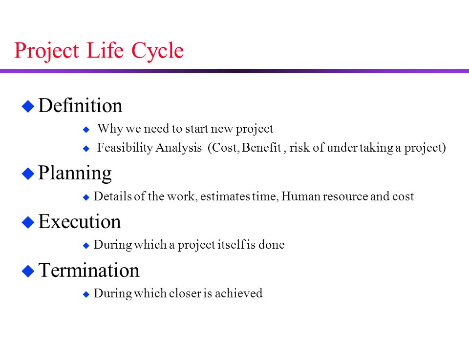 Project Life Cycle Definition Planning Execution Termination