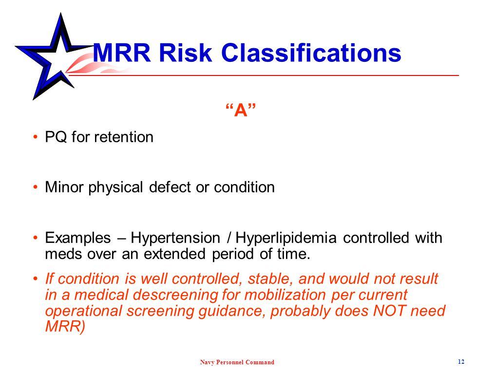 MRR Risk Classifications