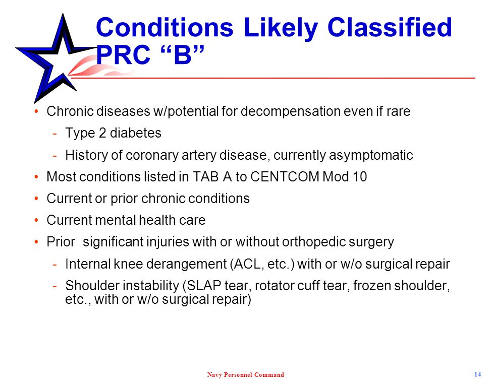 Conditions Likely Classified PRC B