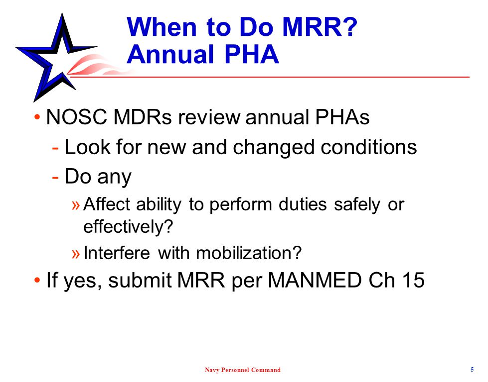 When to Do MRR Annual PHA