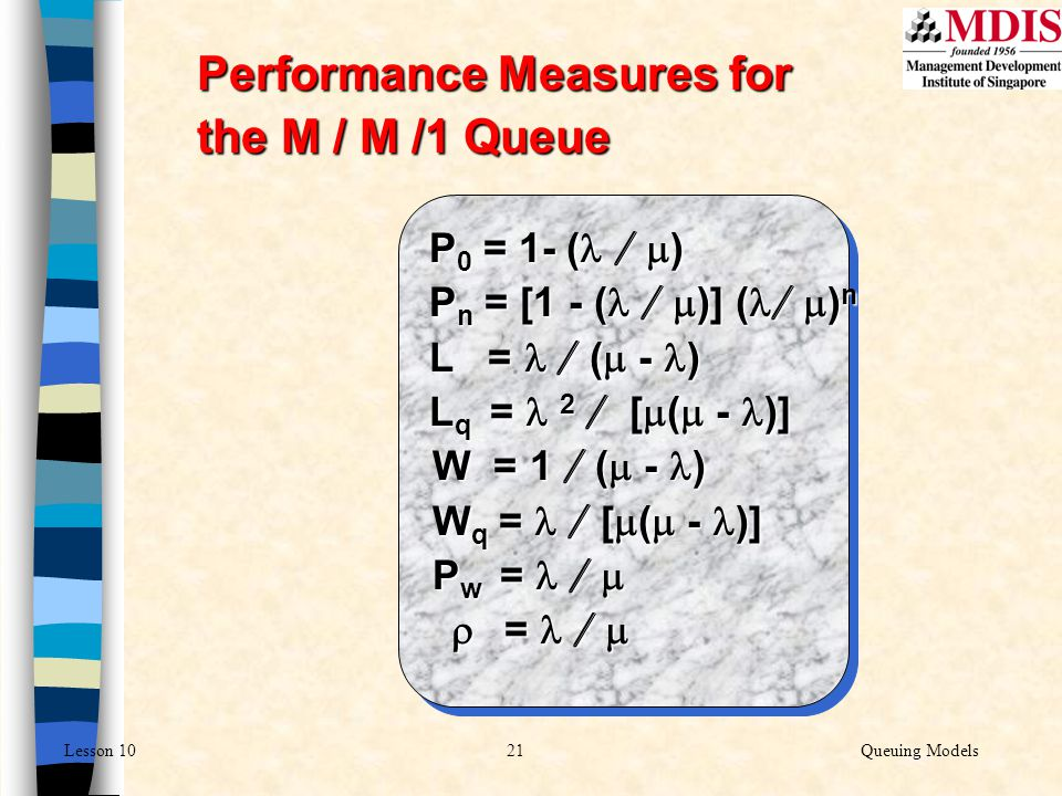 Performance Measures for the M / M /1 Queue