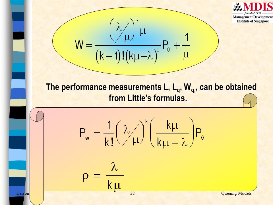 The performance measurements L, Lq, Wq,, can be obtained