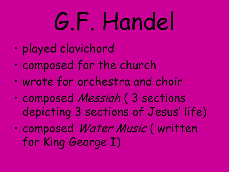 G.F. Handel played clavichord composed for the church