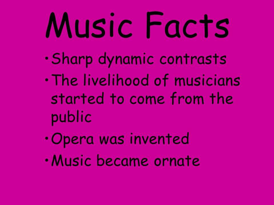 Music Facts Sharp dynamic contrasts