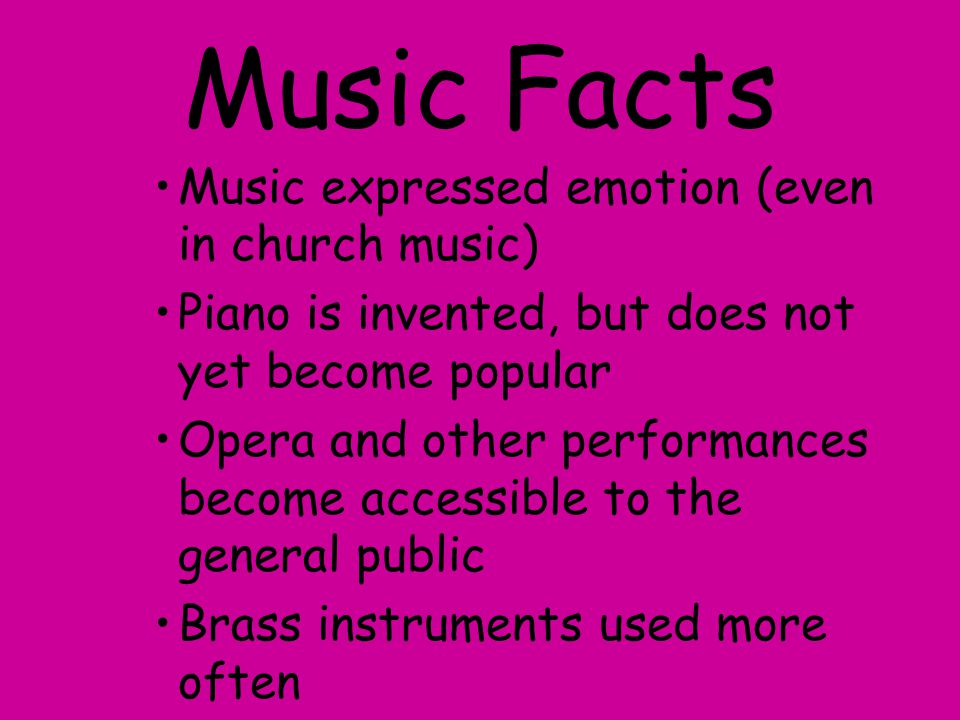 Music Facts Music expressed emotion (even in church music)
