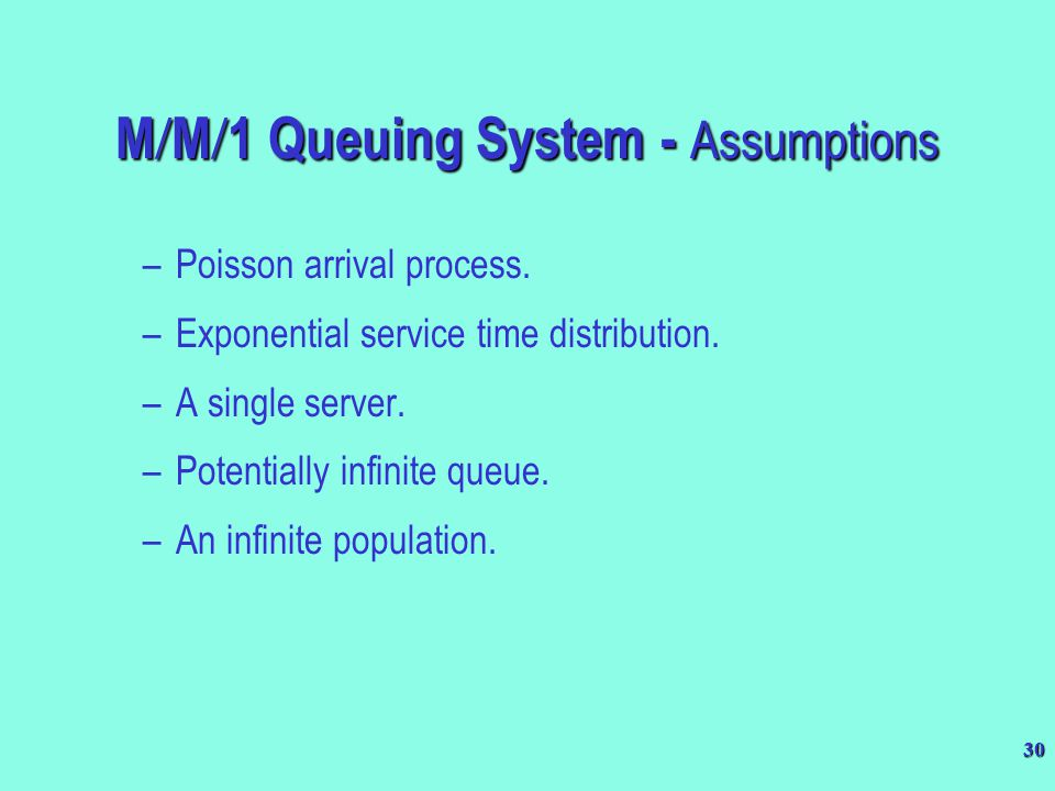 M/M/1 Queuing System - Assumptions
