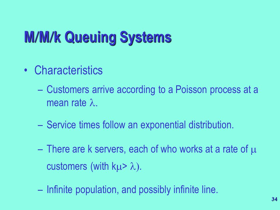 M/M/k Queuing Systems Characteristics