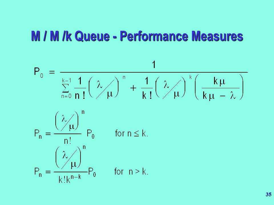 M / M /k Queue - Performance Measures