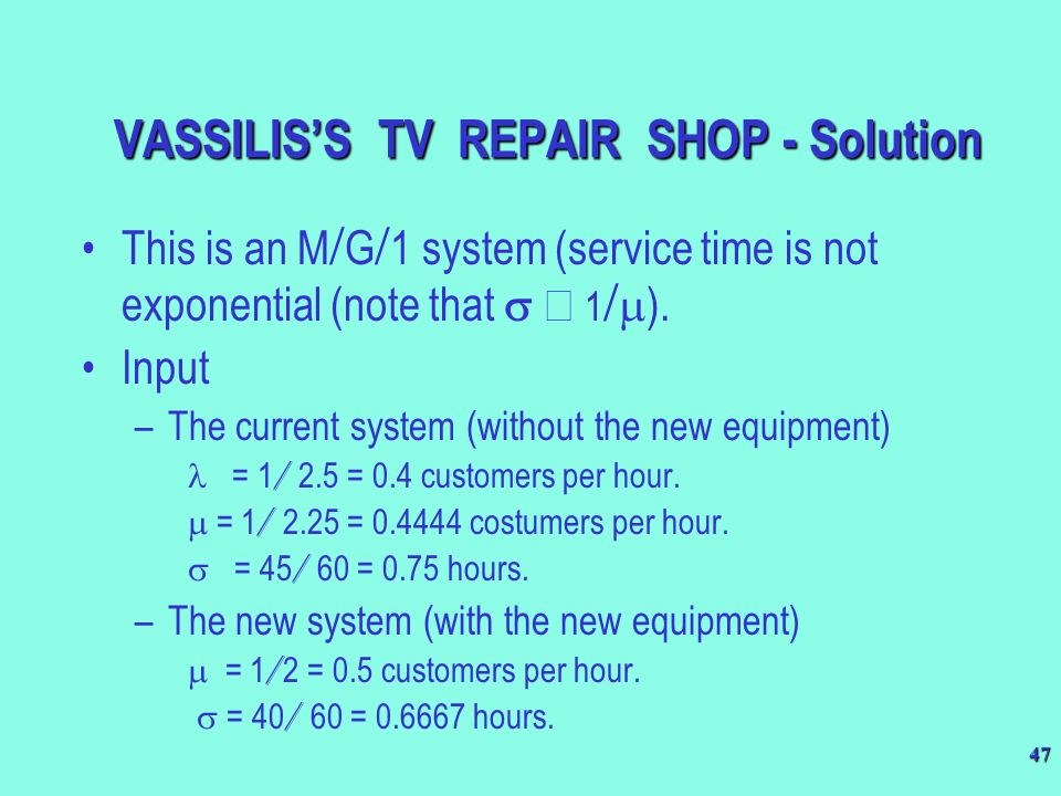 VASSILIS'S TV REPAIR SHOP - Solution