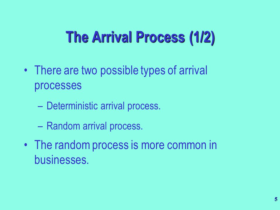 The Arrival Process (1/2)