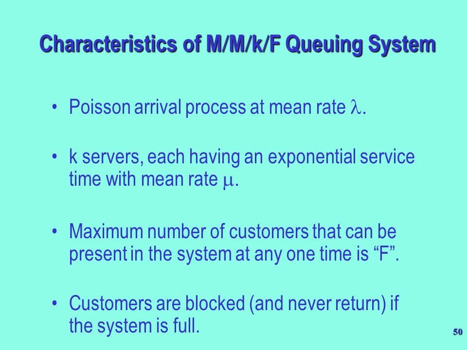 Characteristics of M/M/k/F Queuing System