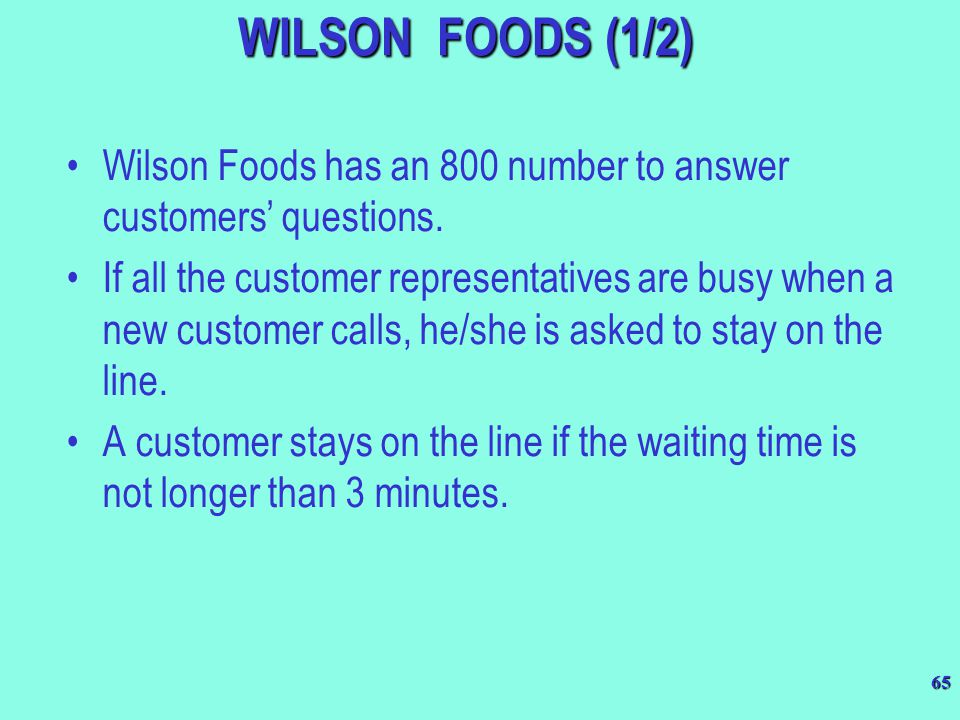 WILSON FOODS (1/2) Wilson Foods has an 800 number to answer customers' questions.