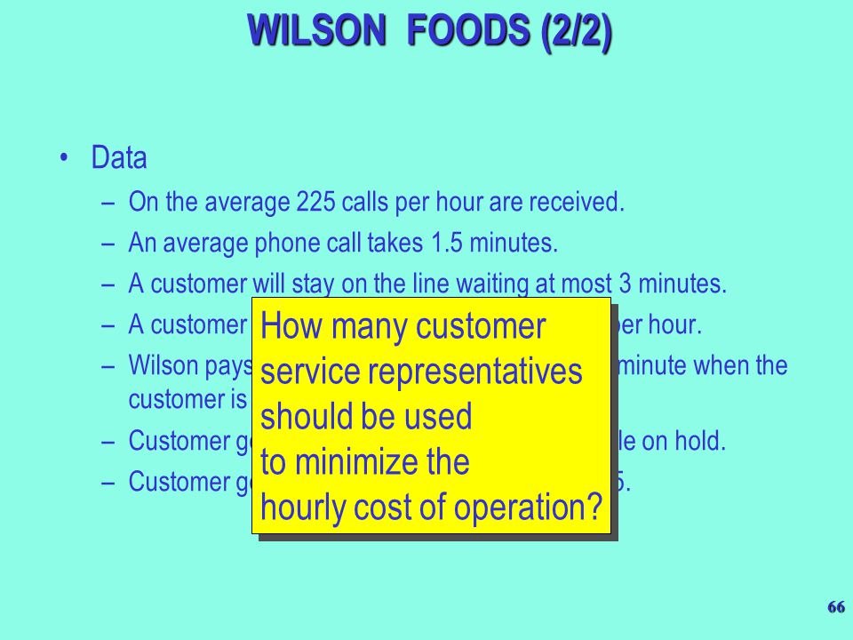 WILSON FOODS (2/2) Data. On the average 225 calls per hour are received. An average phone call takes 1.5 minutes.